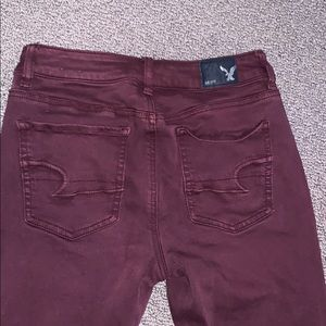 maroon jeans from american eagle, hi rise jeggings